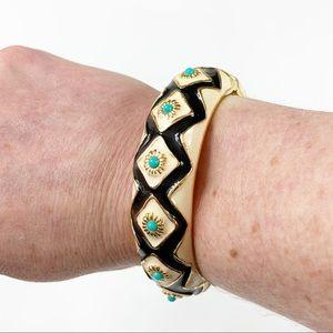 J Crew Black White Gold Enamel Hinged Bracelet